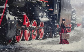 Картинка зима, девушка, стиль, паровоз, чемодан, Анна Каренина, Анна Джибути