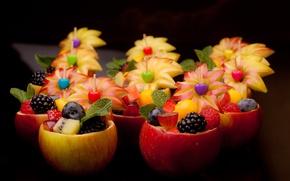 Картинка ягоды, яблоки, еда, фрукты, десерт