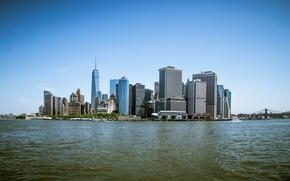 Картинка Море, Нью-Йорк, Манхеттен, Здания, City, USA, США, New York, Manhattan, Sea, Buildings