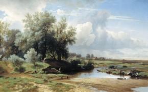 Картинка природа, река, масло, картина, Пейзаж, холст, Лев Каменев