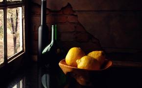 Картинка бутылки, натюрморт, лимоны, Lemons