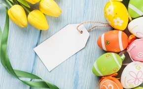Картинка colorful, Пасха, тюльпаны, yellow, tulips, spring, eggs, Happy Easter, Easter eggs