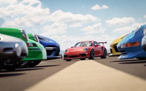 Обои race, sky, Porsche, car, speed, Forza Horizon, Forza Horizon 3, game, kumo, cloud