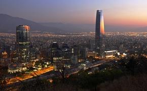 Обои Santiago, Titanium La Portada, Gran Torre Santiago, Torre Gran Costanera, mountains, Chile, twilight, The Costanera ...