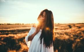 Картинка небо, трава, девушка, солнце, платье, брюнетка, стоит, в белом, боке, в поле