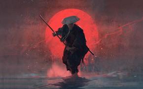 Картинка sword, weapon, hat, art, sun, man, painting, stick, digital art, Samurai, warrior, red sun, artwortk