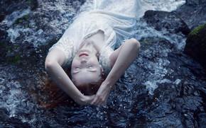 Обои платье, ситуация, девушка, настроение, вода, поза