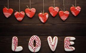 Обои red, Valentine's Day, романтика, сердечки, hearts, любовь, gift, romantic, cookies, love