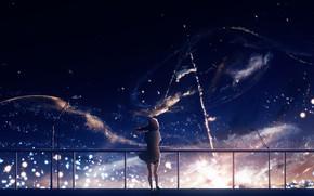Картинка небо, девушка, ночь, Y_Y