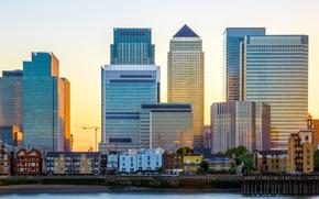 Картинка солнце, река, рассвет, Англия, Лондон, здания, дома, высотные