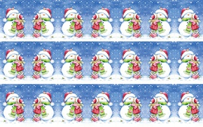 Картинка зима, снег, настроение, праздник, поцелуй, арт, девочка, Новый год, снеговик, детская