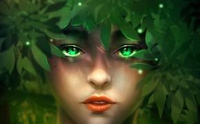 Картинка листья, девушка, фэнтези, by minnhsg