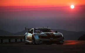 Обои закат, Chevrolet, солнце, Camaro, тюнинг, вечер