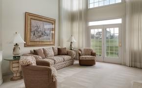 Обои шторы, окно, диван, гостиная