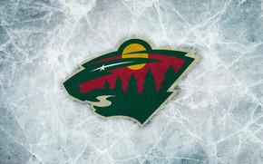 Картинка лед, лес, солнце, эмблема, зверь, Minnesota Wild, НХЛ, nhl, Миннесота, Миннесота Уайлд, хоккейный клуб