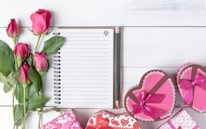 Обои праздник, подарок, розы, сердечки, день влюбленных