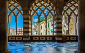 Обои колонны, Собор Святого Андрея, небо, дома, Кафедральный собор, Италия, Амальфи