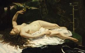 Обои картина, Gustave Courbet, эротика, Женщина с Попугаем, Гюстав Курбе, птица