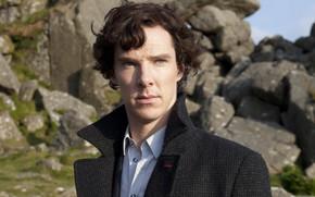 Обои фото, мужчина, пальто, Бенедикт Камбербэтч, Benedict Cumberbatch, Sherlock