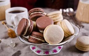 Картинка кофе, печенье, чашка, крем, десерт, sweet, coffee cup, cookies, macaron, almond, макаруны