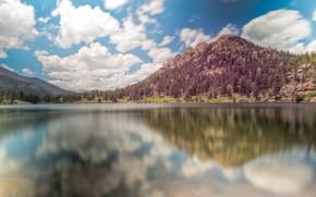 Картинка облака, озеро, гора