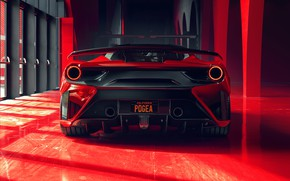Картинка фары, Ferrari, суперкар, вид сзади, GTB, 2018, 488, Pogea Racing, FPlus Corsa