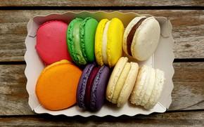 Картинка коробка, сладость, wood, выпечка, macarons