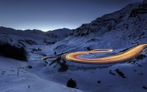 Картинка зима, дорога, ночь, огни