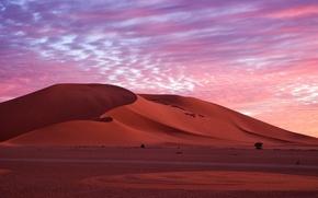 Картинка песок, небо, облака, природа, пустыня, вечер, утро, дюны