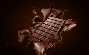Обои всплеск, плитка шоколада, шоколад, брызги