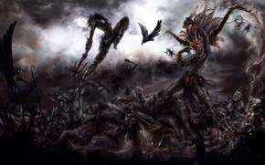 Картинка demon, skull, war, dead, fight, Diablo, death, bow, hell, rage, angry, helmet, arrow, fury, ork, …
