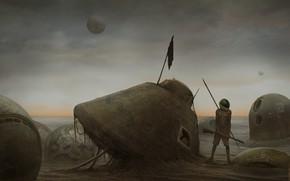 Обои одиночество, человек, планета, аппарат, mars