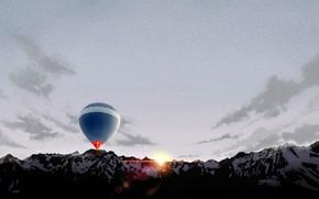 Картинка горы, воздушный шар, рассвет
