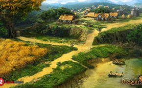 Картинка река, обрыв, берег, дома, dragon eternity, landor village