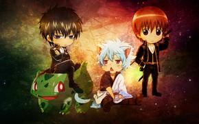 Картинка неко, anime, pokemon, bulbasaur, gintama, gintoki, hijikata toshiro, okita sougo, gintoki and hijikata, kawai, anime …