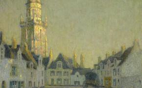 Картинка дома, картина, площадь, городской пейзаж, Henri Le Sedaner, Анри Ле Сиданэ, La Place. Le Croisic