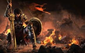 Картинка sword, game, armor, woman, ken, blade, shield, Smite, Bellona