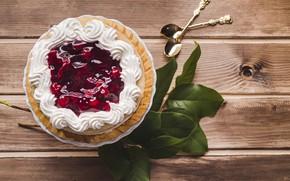 Картинка торт, cake, крем, десерт, wood, leaves, sweet, cherry, jam, mousse