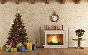 Обои рендеринг, розы, Часы, Новый Год, Доски, Елка, Камин, Интерьер, Подарки