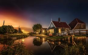 Обои город, вечер, мостик, канал, свет, домики, Нидерланды