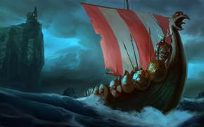 Обои shields, lances, tower, ship, castle, horns, fantasy, warrior, artwork, weapons, Jon Gregerson, digital art, Vikings, ...
