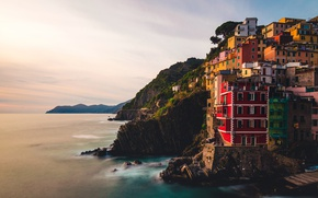 Картинка sea, Italy, dusk, Riomaggiore, Liguria, cliff
