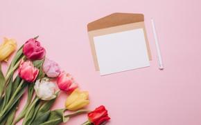 Картинка цветы, букет, colorful, тюльпаны, wood, pink, flowers, tulips, spring