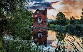 Обои природа, дом, озеро