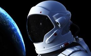 Картинка космос, космонавт, атмосфера, арт, Земля, гравитация, красотища, бесконечность, невесомость, боке, astronaut, wallpaper., выход открытый космос, …