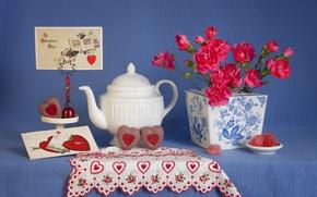 Картинка стиль, сердца, чайник, конфеты, натюрморт, день влюбленных, открытка, 14 февраля, День Святого Валентина, гвоздики