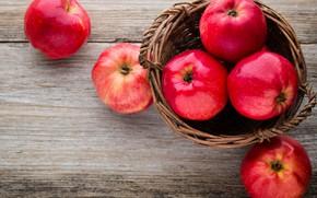 Картинка яблоки, красные, корзинка