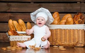 Картинка малыш, хлеб, наряд, повар, баранки