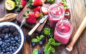 Картинка ягоды, клубника, трубочка, напиток, мята, ежевика, голубика, смузи