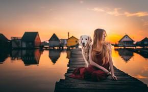 Картинка девушка, закат, мост, собака